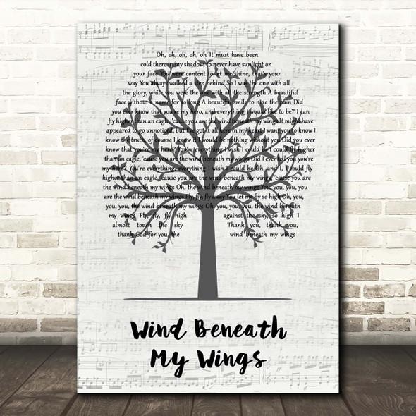 Bette Midler Wind Beneath My Wings Music Script Tree Song Lyric Print