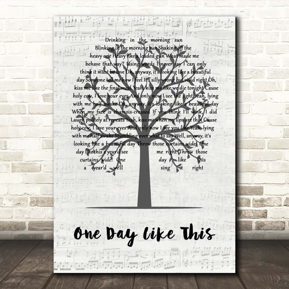 Elbow On A Day Like This Music Script Tree Song Lyric Print