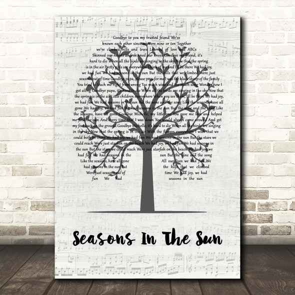 Terry Jacks Seasons In The Sun Music Script Tree Song Lyric Print
