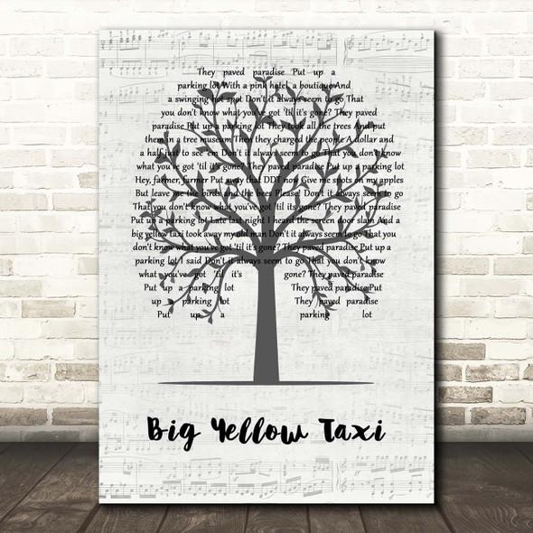 Joni Mitchell Big Yellow Taxi Music Script Tree Song Lyric Print