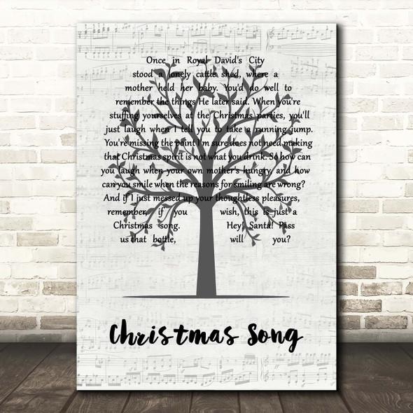 Jethro Tull Christmas Song Music Script Tree Song Lyric Print