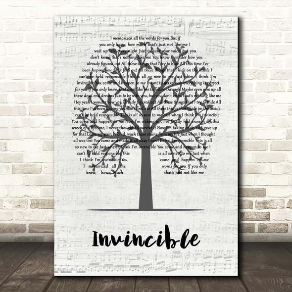 Crossfade Invincible Music Script Tree Song Lyric Print