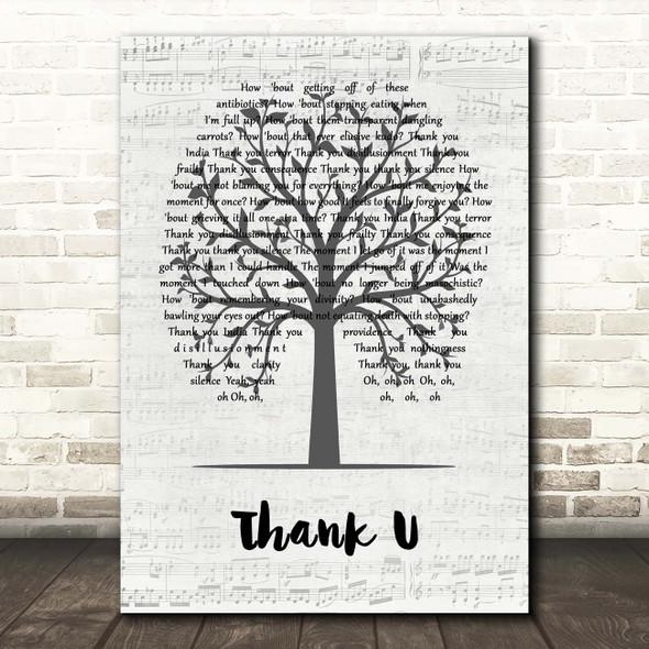 Alanis Morissette Thank U Music Script Tree Song Lyric Print