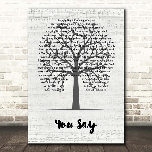 Lauren Daigle You Say Music Script Tree Song Lyric Print