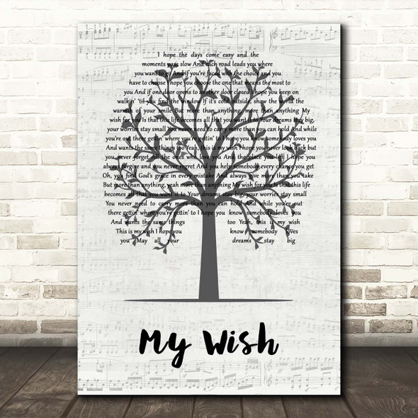 Rascal Flatts My Wish Music Script Tree Song Lyric Print