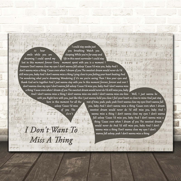 Aerosmith I Don't Want To Miss A Thing Landscape Music Script Two Hearts Song Lyric Print