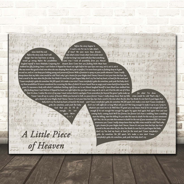 Avenged Sevenfold A Little Piece of Heaven Landscape Music Script Two Hearts Song Lyric Print