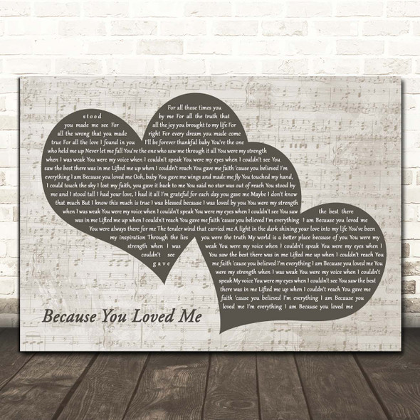 Celine Dion Because You Loved Me Landscape Music Script Two Hearts Song Lyric Print