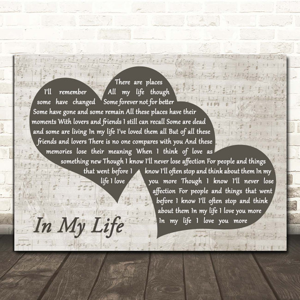 The Beatles In My Life Landscape Music Script Two Hearts Song Lyric Print