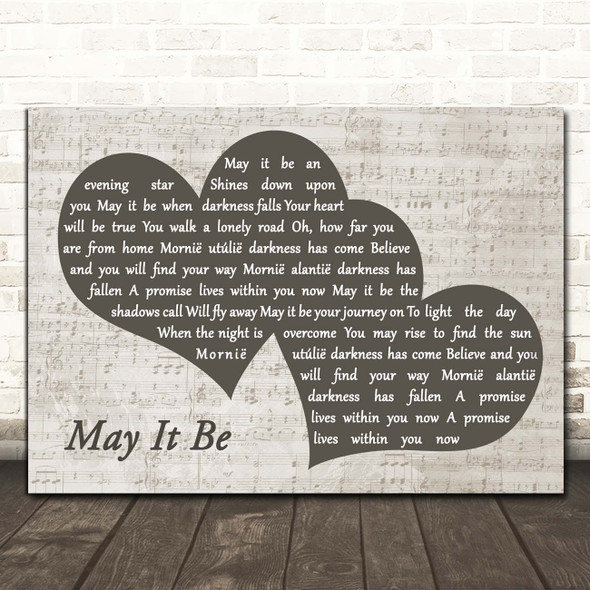 Enya May It Be Landscape Music Script Two Hearts Song Lyric Print