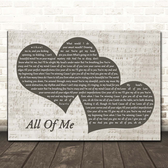John Legend All Of Me Landscape Music Script Two Hearts Song Lyric Print