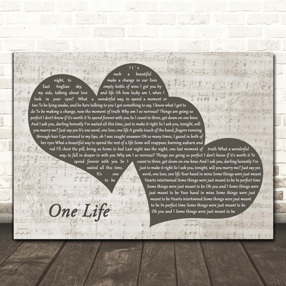 Ed Sheeran One Life Landscape Music Script Two Hearts Song Lyric Print