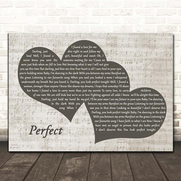 Ed Sheeran Perfect Landscape Music Script Two Hearts Song Lyric Print