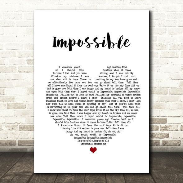 James Arthur Impossible Heart Song Lyric Quote Print