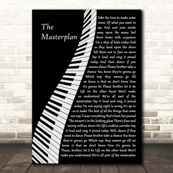 Oasis The Masterplan Piano Song Lyric Print