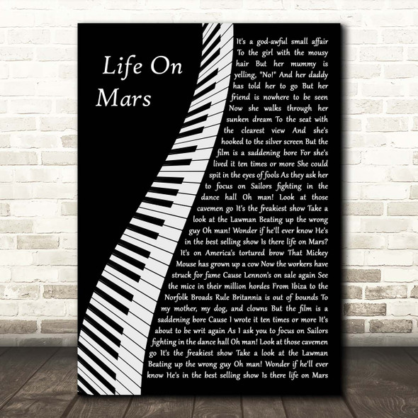 David Bowie Life On Mars Piano Song Lyric Print