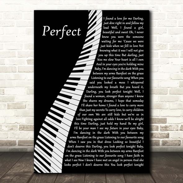 Ed Sheeran Perfect Piano Song Lyric Print