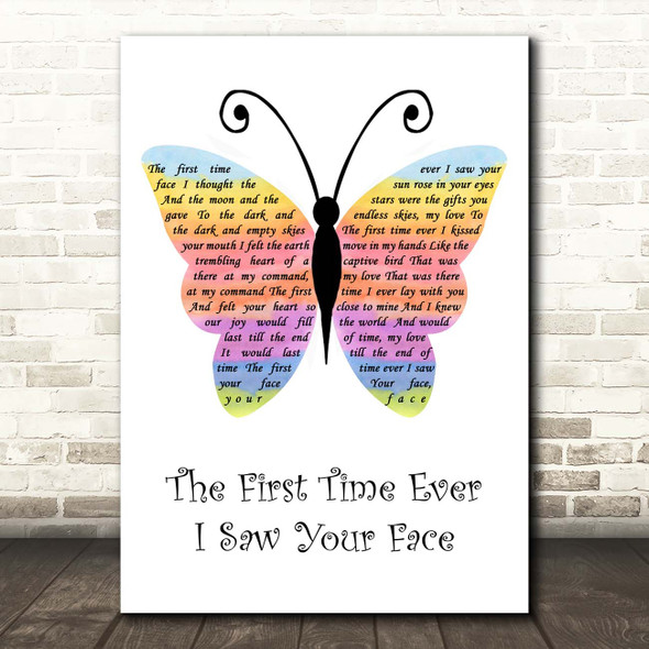 George Michael The First Time Ever I Saw Your Face Rainbow Butterfly Song Lyric Print