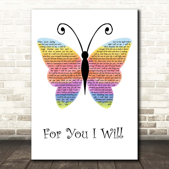 Monica For You I Will Rainbow Butterfly Song Lyric Print