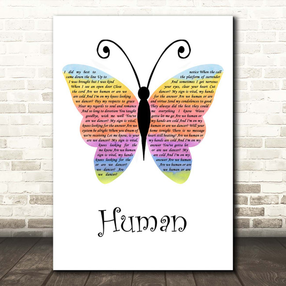 The Killers Human Rainbow Butterfly Song Lyric Print