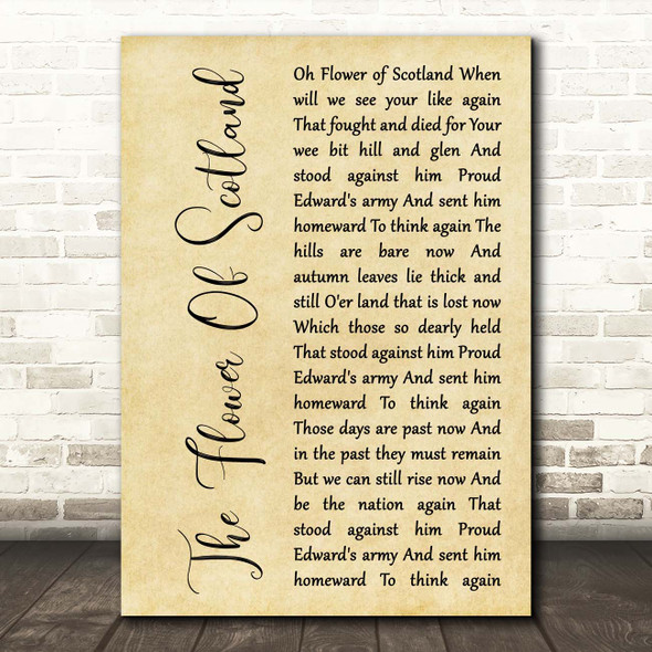 The Corries The Flower Of Scotland Rustic Script Song Lyric Print
