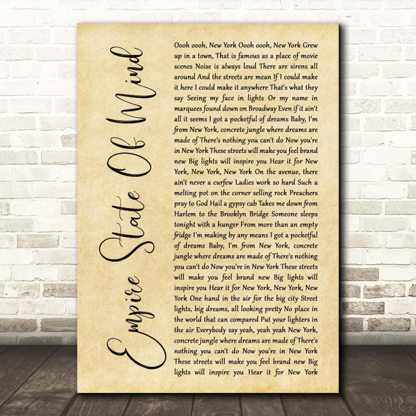 Alicia Keys Empire State Of Mind Rustic Script Song Lyric Print