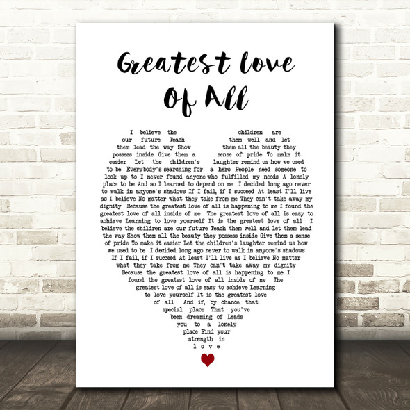Whitney Houston Greatest Love Of All Heart Song Lyric Quote Print