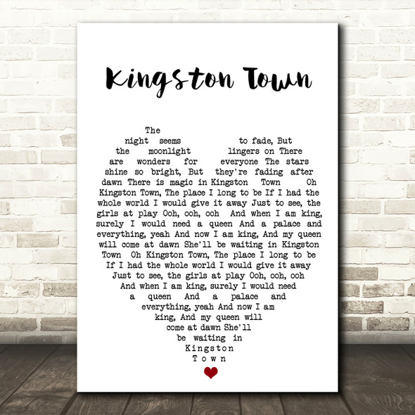 Kingston Town UB40 Quote Song Lyric Heart Print