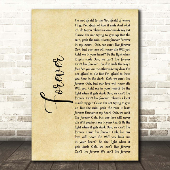 The Amity Affliction Forever Rustic Script Song Lyric Print