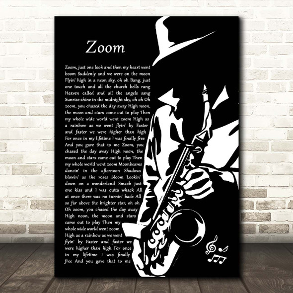 Fat Larry's Band Zoom Black & White Saxophone Player Song Lyric Print