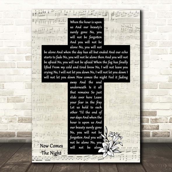 Rob Thomas Now Comes The Night Music Script Christian Memorial Cross Song Lyric Print
