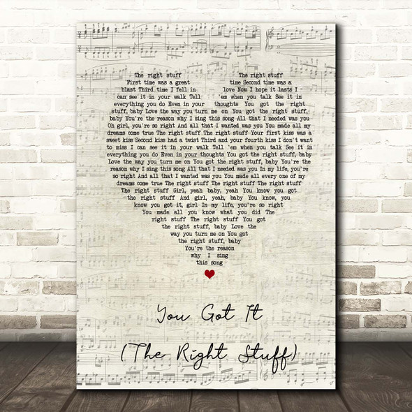 New Kids On The Block You Got It (The Right Stuff) Script Heart Song Lyric Print