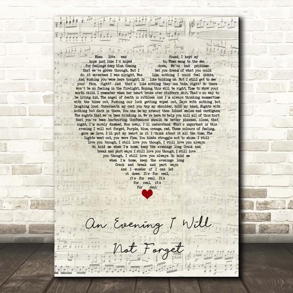 Dermot Kennedy An Evening I Will Not Forget Script Heart Song Lyric Print