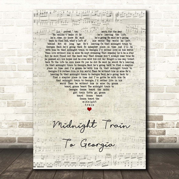 Gladys Knight And The Pips Midnight Train To Georgia Script Heart Song Lyric Print