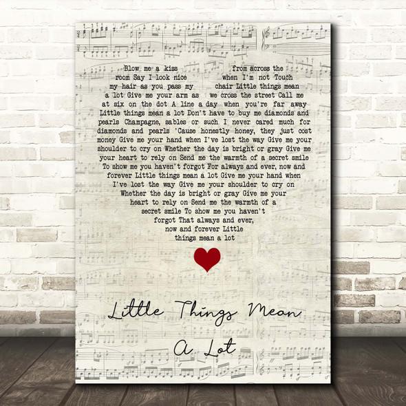 Kitty Kallen Little Things Mean a Lot Script Heart Song Lyric Print