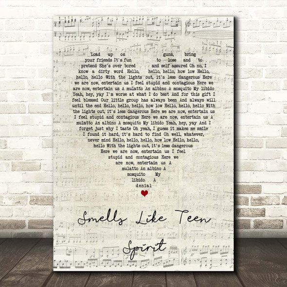 Nirvana Smells Like Teen Spirit Script Heart Song Lyric Print