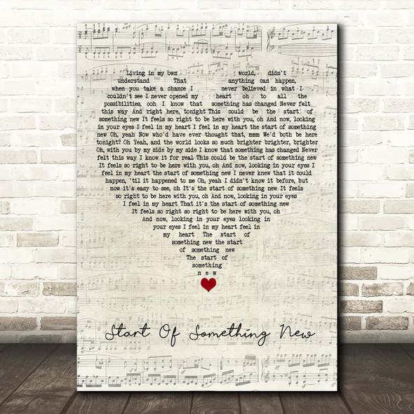 High School Musical Cast Start Of Something New Script Heart Song Lyric Print