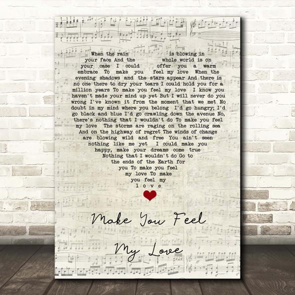 Adele Make You Feel My Love Script Heart Song Lyric Print