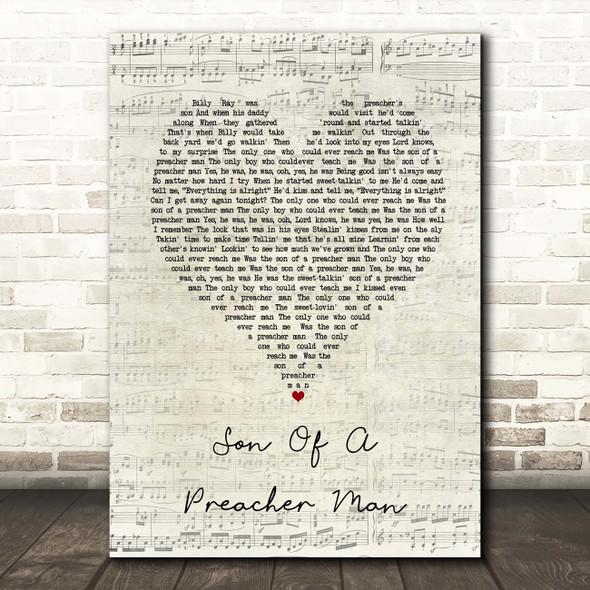 Dusty Springfield Son Of A Preacher Man Script Heart Song Lyric Print
