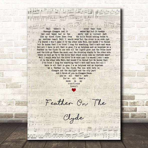 Passenger Feather On The Clyde Script Heart Song Lyric Print