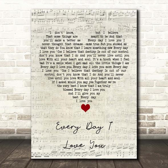 Boyzone Every Day I Love You Script Heart Song Lyric Print
