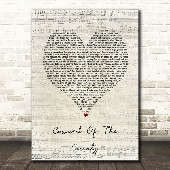 Kenny Rogers Coward Of The County Script Heart Song Lyric Print