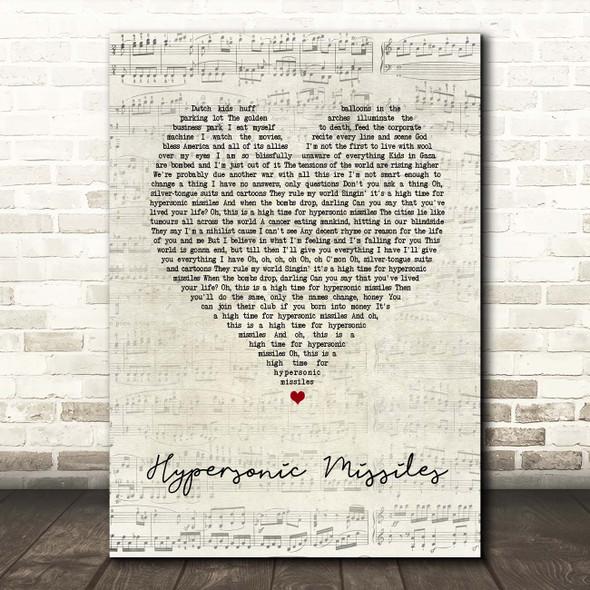 Sam Fender Hypersonic Missiles Script Heart Song Lyric Print