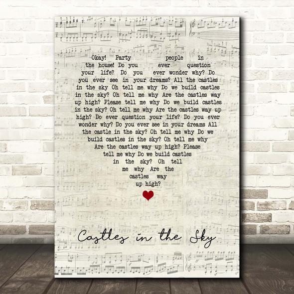 Ian Van Dahl Castles in the Sky Script Heart Song Lyric Print