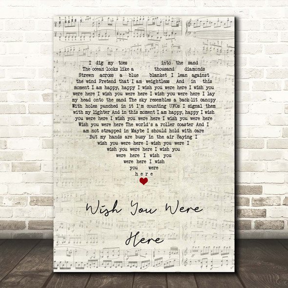 Incubus Wish You Were Here Script Heart Song Lyric Print