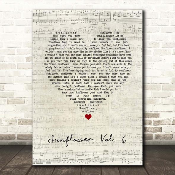 Harry Styles Sunflower, Vol. 6 Script Heart Song Lyric Print