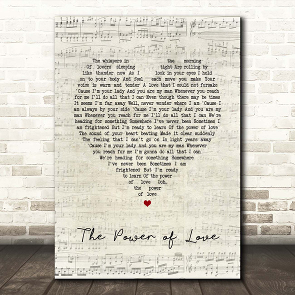 Jennifer Rush The Power of Love Script Heart Song Lyric Print