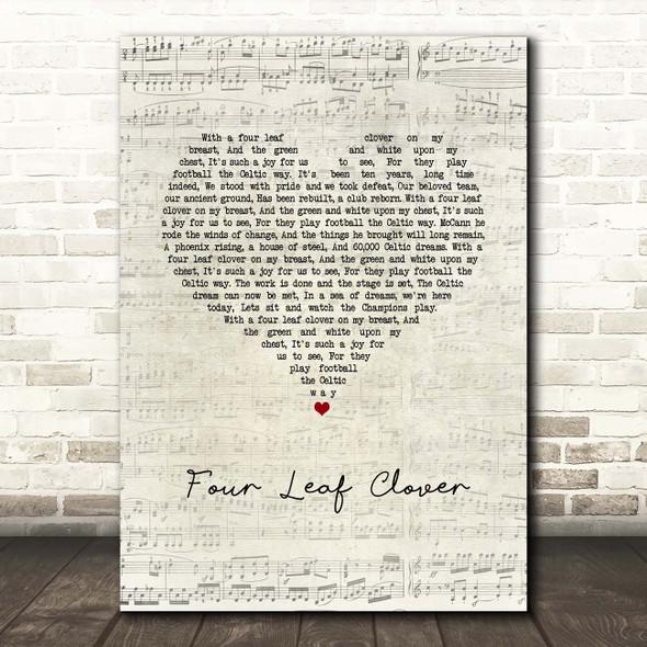 Celtic Songs Glasgow Celtic FC Four Leaf Clover Script Heart Song Lyric Print