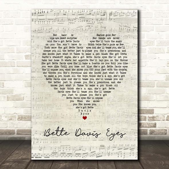 Kim Carnes Bette Davis Eyes Script Heart Song Lyric Print