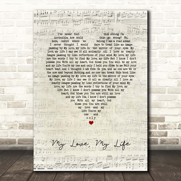 Mamma Mia! Here We Go Again My Love, My Life Script Heart Song Lyric Print